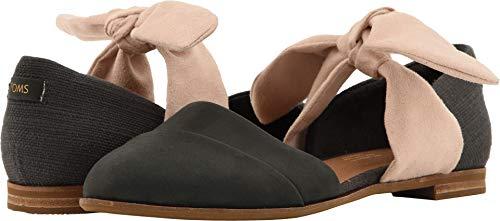 TOMS Women's Jutti D'Orsay Black Leather/Forged Iron Slubby Cotton/Bow 8.5 B US