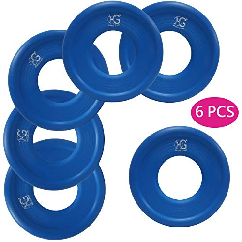 Macro Giant 9 Inch Soft Foam Frisbee Flying Discs, Set of 6, Blue, Playground, Kid Sports Toy, Ring Toss Game, Parenting Activity, Outdoor Indoor, Camp Game