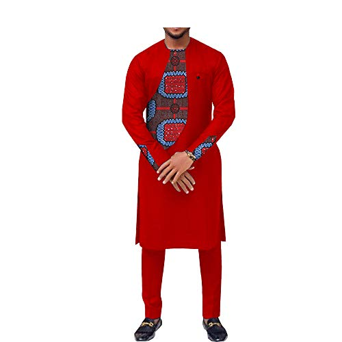 African Ankara Print Men Suit Long Sleeve O-Neck Knee-Length Top+Ankle-Length Pants 100% Batik Cotton Made AA731606 262-10J ()