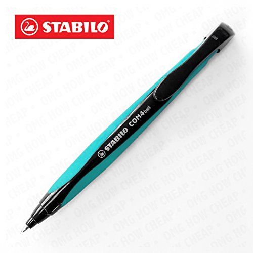 STABILO COM4ball, Kugelschreiber, einziehbar, mit ergonomischer Griffzone-0,5mm-single-Blaue Tinte