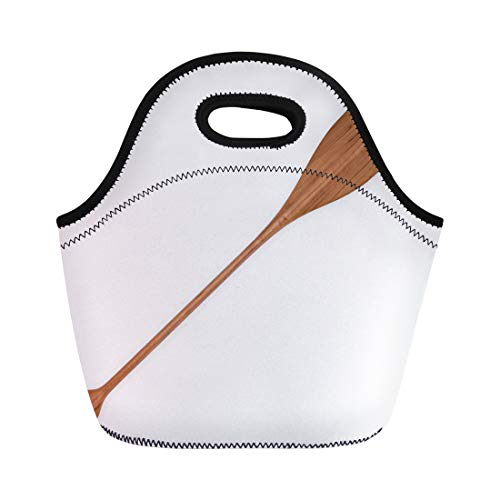 (Semtomn Lunch Tote Bag Canoe Wooden Paddle 3D Rendering Abstract Active Activity Alder Reusable Neoprene Insulated Thermal Outdoor Picnic Lunchbox for Men Women)
