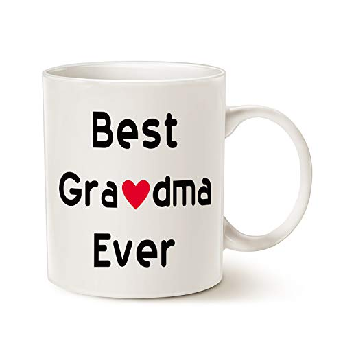 MAUAG Mothers Day Gifts Best Grandma Coffee Mug Christmas Gifts, Best Grandma Ever Unique Holiday or Birthday Gifts Idea for Grandma Grandmother Grandmama Cup White, 11 Oz