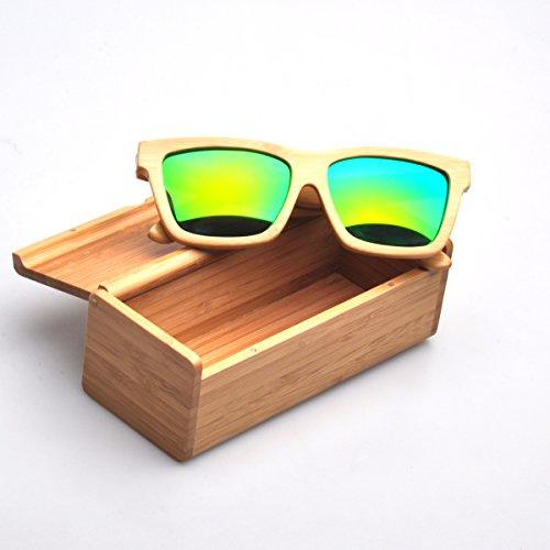 Artesanal de bambú natural Marcos polarizado lente verde gafas de sol de madera: Amazon.es: Ropa y accesorios