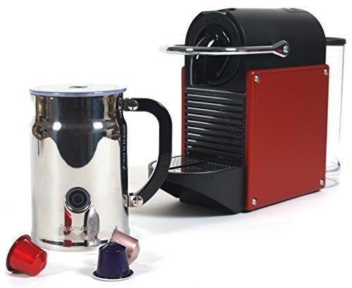 Nespresso D60 Pixie Dark Red Espresso Machine With Aeroccino Plus Milk Frother