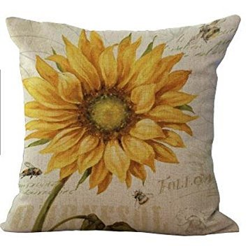 Bnitoam Oil Painting Sunflower Throw Pillow Case Cushion Cover Decorative Cotton Blend Linen Pillowcase for Sofa 18