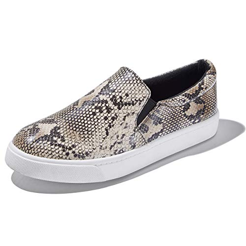 (DailyShoes Unisex Flat Memory Foam Slip On Sneakers Fashion Flat Loafers Comfy Breathable Round Casual Driving Shoes Casual Slip-On Loafers Sneakers Shoes NAT,Python,P,U,9)