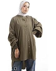 بلوزة حجاب كبيرة الحجم للنساء بأكمام طويلة
