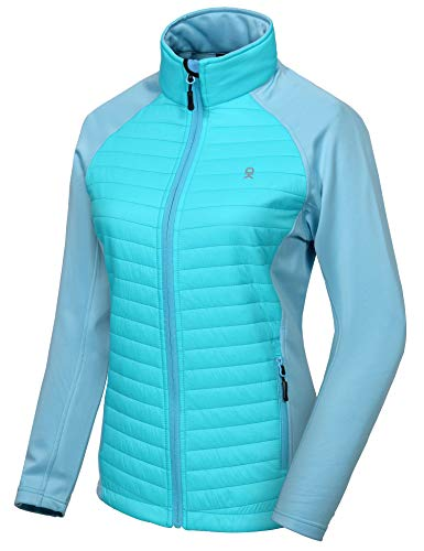 Little Donkey Andy Women's Insulated Hiking Jacket, Thermal Running Hybrid Jacket, Lightweight Breathable and Warm