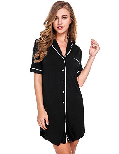 Avidlove Womens Nightshirt Short Sleeves Pajama Top Boyfriend Shirt Dress Nightie Sleepwear (X-Large, Black Nightgown1) Pajama Sleepwear Gown