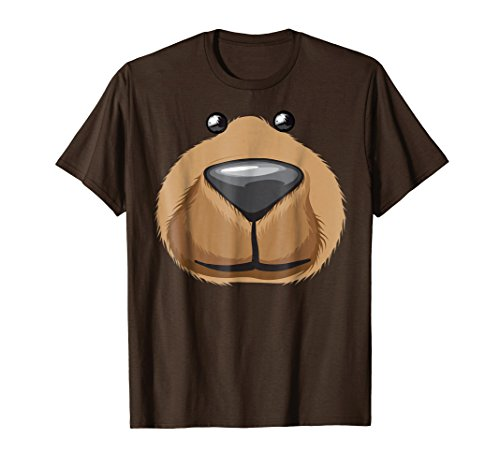 Mens Cute Bear Face Costume Shirt Funny Halloween Teddy DIY Gift XL Brown -