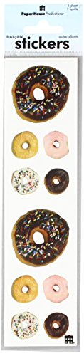 Paper House Productions ST-2195E Photo Real Stickypix Stickers, 2-Inch by 4-Inch, Donuts (6-Pack)