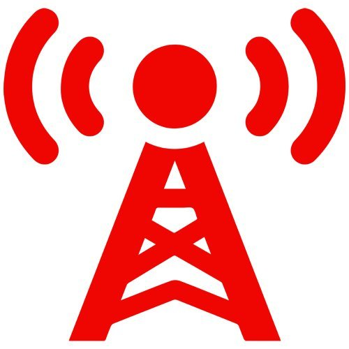 Radio Tower Broadcast Decal Sticker (red, mirrored), - PEEL and STICK Graphic Sticker - Decorative Bumper Window Laptop Notebook Sticker (Mirrored Tower)