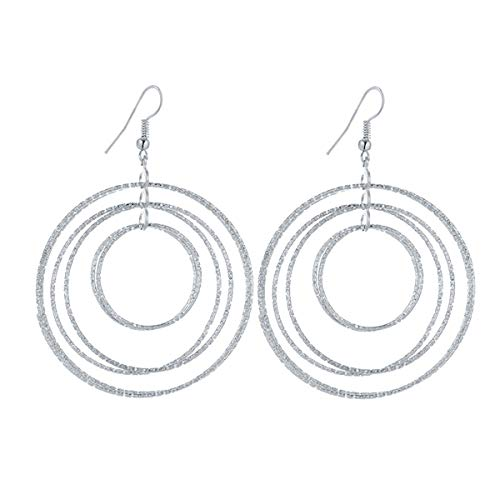 (IDB Delicate Designer Multi Hoop Drop Earrings - Available in Silver and Gold Tones (Silver Tone))