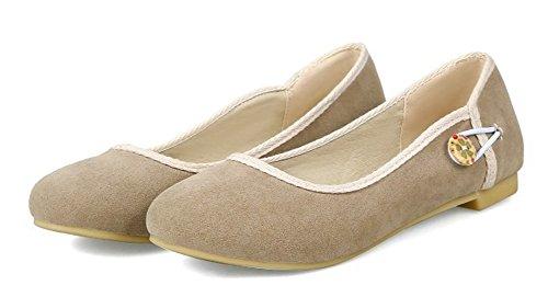 Aisun Womens Comfort Casual Low Cut Driving Cars Round Toe Slip On Flats Shoes Apricot JMprr