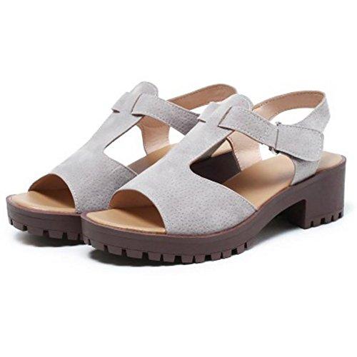 COOLCEPT Damen Freizeit Chunky Heel Sandalen Schuhe Light Gray
