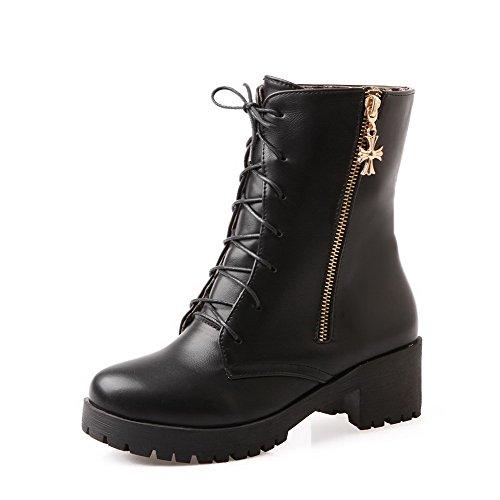 WeenFashion Women's Kitten-Heels Kitten-Heels Kitten-Heels Soft Material Low Top Solid Zipper Boots B01NAHKQX0 Shoes d52fa2