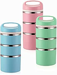 Lille Home Stackable Stainless Steel Thermal Compartment Lunch Box | 3-Tier Insulated Bento Box/Food Container