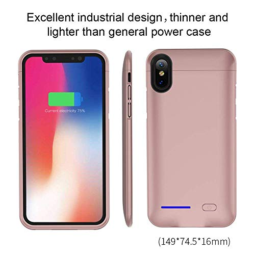 LAQUEEN iPhone X/XS Battery Case, Slim Rechargeable Extended Protective Battery Bank Charging Case with Magnet Kickstand for iPhone X/ iPhone10(5.8 inch)- 4000mAh (Car Holder Magnet) Rose Gold