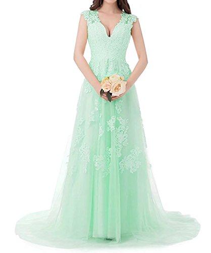 V Brautjungfern Tüll Damen Spitze Abendkleider Ausschnitt Kleider Ballkleider Minze Hochzeit Brautkleid Lang Beyonddress R8qBAvA