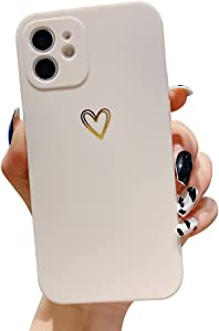 Ownest Compatible with iPhone 11 Case for Soft Liquid Silicone Gold Heart Pattern Slim Protective Shockproof Case for Women Girls for iPhone 11-White