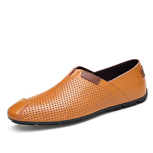 Conducción Los Guisantes Perezosos Pie Hombres Mocasines Gpf brown Cómodos Dedo Moda Redondo Ocio fei Del Transpirable Zapatos Zapato De Cuero 46 Simple tzwx8pxqZ