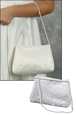 Girls First Communion Purse 7 Inch Beaded White Satin Handbag with 19 Inch Handle