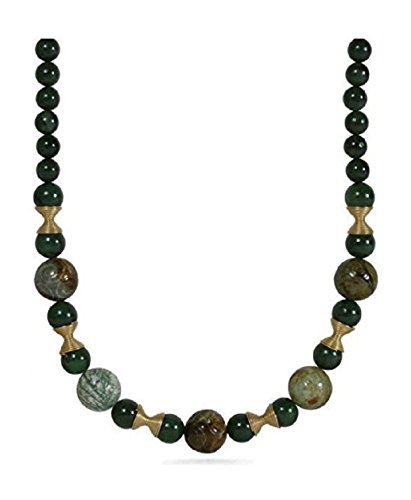 ['Green Dynasty' Wirework Bead Carved and Smooth Simulated Jade Green Stone Necklace 21
