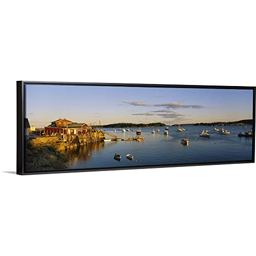 (CANVAS ON DEMAND Boats in a River, Stonington Harbor, Deer Isle, Hancock County, Maine Black Floating Frame Canv. )