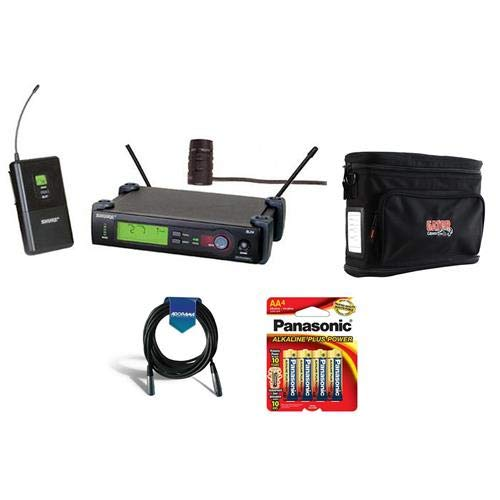 (Shure SLX14/84-J3 Wireless Microphone System with SLX1 Transmitter, SLX4 Receiver, WL184 Lavalier Mic, J3 Band/572-596 MHz Frequency - Bundle With Gator GM-1W System Bag, 20' XLR Mic Cable, 4x AA)