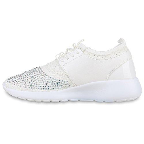 Stiefelparadies Damen Sportschuhe Muster Laufschuhe Runners Sneakers Schuhe Strass Metallic Flandell Weiss Strass