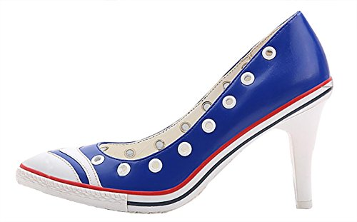 Mid Slip Toe PU CAMSSOO soft Stiletto On Special Heels Pumps PU Women's blue High Shoes Soft Pointy g8qnaIRq