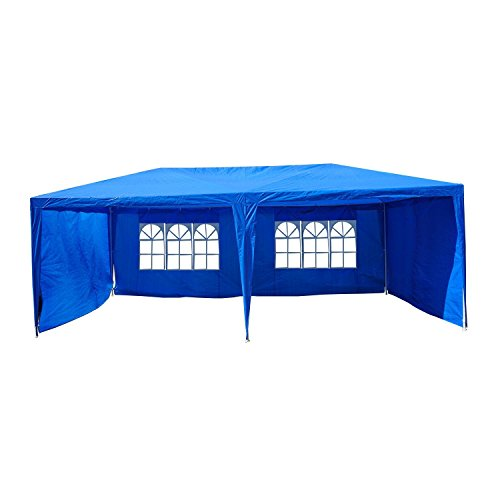 Outsunny 10' x 20' Easy Pop Up Canopy Party Tent with 4 Removable Sidewalls - Blue