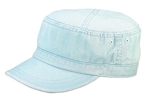 MG Wholesale Enzyme Washed Cotton Army Cadet Castro Hats (Light Blue) - (Wool Cadet Hat)