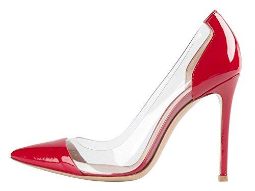 Guoar Sandalias De Tacón De Aguja Para Mujer Zapatos Grandes De Gran Tamaño De Punta Estrecha Bombas De Patente Para El Vestido De Fiesta De Boda Rojo Us10