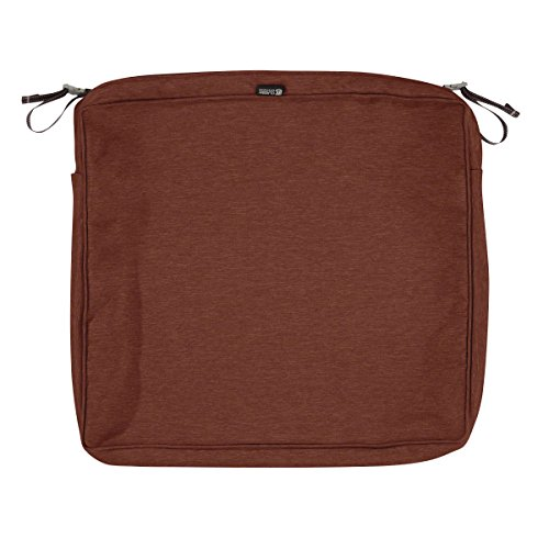 Classic Accessories Montlake Patio FadeSafe Seat Cushion Slip Cover, Henna 23″Wx21″Dx5″T