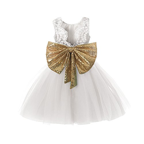Dress Girl Child Graduation 7 16 Gold Sequin Big Girl A Line Size 10 Red Ball Gown Birthday Princess Pageant Tulle Dresses Backless Size 10 T Years First Holy Communion (White 160) ()
