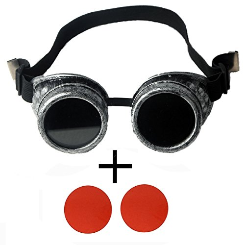 FIRSTLIKE Steam Punk Goggles Halloween Costumes Play Role Play Dance Party Color Lens (Halloween Costume Ideas Glasses Wearers)
