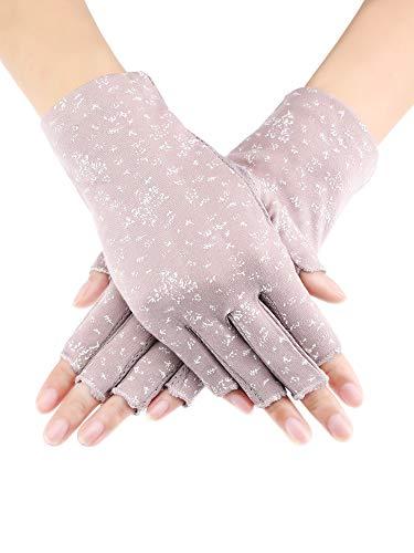 Maxdot Women Sunblock Fingerless Gloves Non Skid