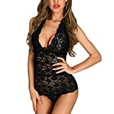 Women Teddy Bodysuit Romper,NDGDA Lace Sexy Lingerie Open Back Scalloped Lace Sheer Underwear