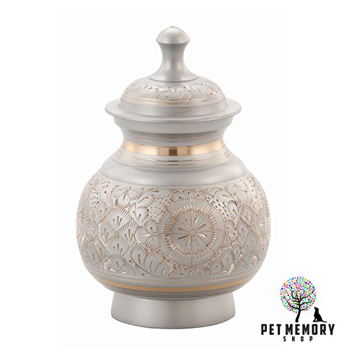 Pet Memory Shop Urn for Pets - Hand Engraved w/FREE VELVET URN BAG - Choose From 2 Styles - for Dogs, Cats, Other Animals … (Silver) by Pet Memory Shop (Image #3)