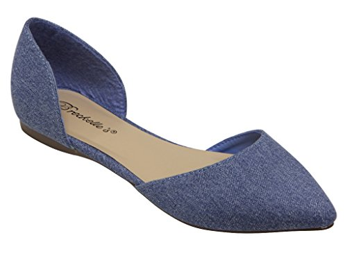 Breckelles Dolley 52 Donna Dorsay Piatto A Punta Smussata Slip On Suede Blu Denim