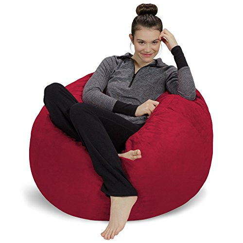 Cinnabar Type - Sofa Sack - Plush, Ultra Soft Bean Bag Chair - Memory Foam Bean Bag Chair with Microsuede Cover - Stuffed Foam Filled Furniture and Accessories for Dorm Room - Cinnabar 3'