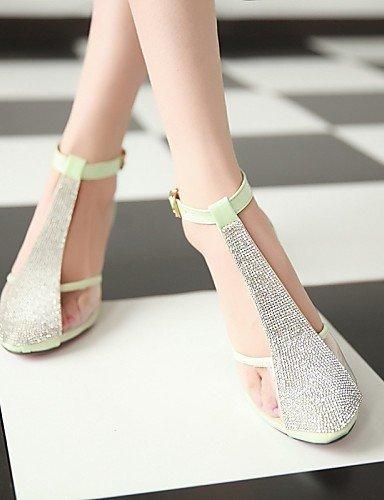 ShangYi Womens Shoes Fleece Chunky Heel Heels / Comfort / Pointed Toe / Closed Toe Heels Dress / Casual Green / White Green