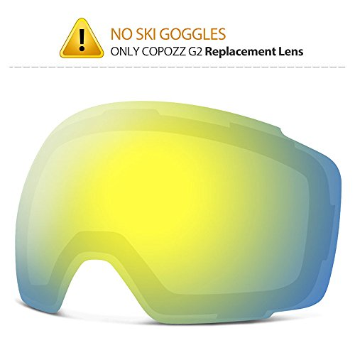 COPOZZ Ski Goggles, G2 Magnetic Snowboard Snow Goggles -2 Seconds Quick Change Lens, Imported Double-Layer Anti Fog Lens -UV400 Over Glasses OTG Helmet Compatible (Gold Lens VLT 21%) ()