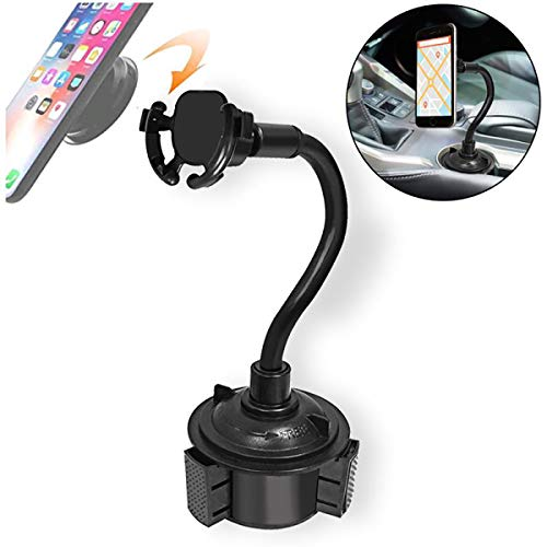 Car Cup Phone Holder, CAIQI Universal Long Arm Cell Phone Car Mount with 360° Rotatable Cradle Compatible for All Smartphones Such as iPhone, Samsung and GPS,Huawei (Black)
