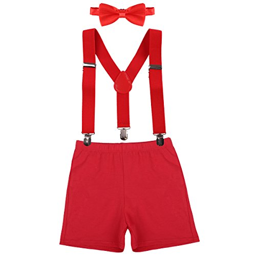- Baby Boys First Birthday Adjustable Y Back Elastic Clip Suspenders Cake Smash Outfit Tuxedo Pre-tied Bloomers Bowtie set Z# Red