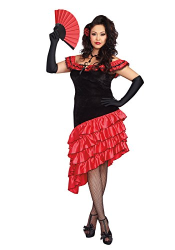 Dreamgirl Women's Plus-Size Spanish Dancer Costume, Black/Red, 3X/4X (Mexican Costumes Woman)