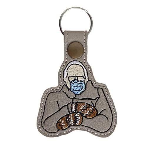 Bernie Sanders Mittens Inauguration Day 2021 Maple Walnut Keychain