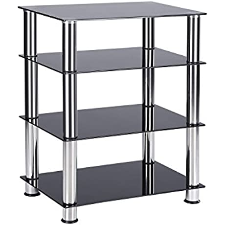 TAVR Media TV Stand Audio Video Tower 4 Tiers Glass Shevles For TV Xbox Gaming Consoles Media Component Streaming Device