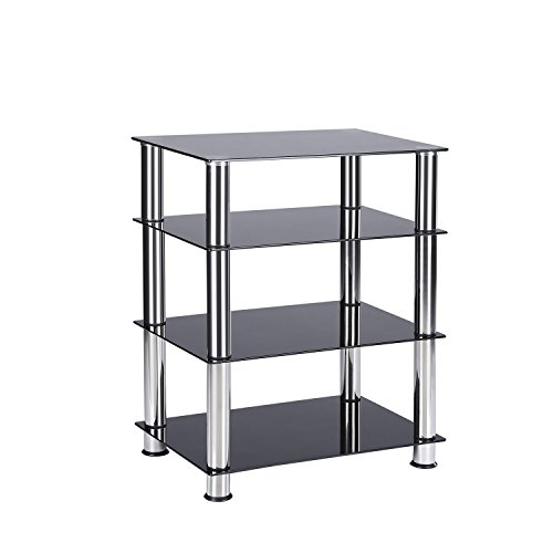 TAVR Media TV Stand Audio Video Tower 4-Tiers Glass Shevles for TV, Xbox, Gaming Consoles, Media Component,Streaming Device (4 Glass Shelf Audio Rack)